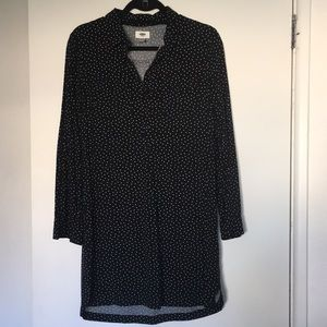 Long sleeve black shirt dress with white dots